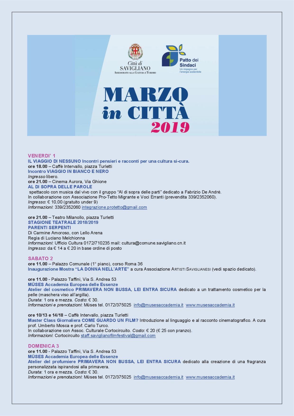 depliant Marzo in Città 20191