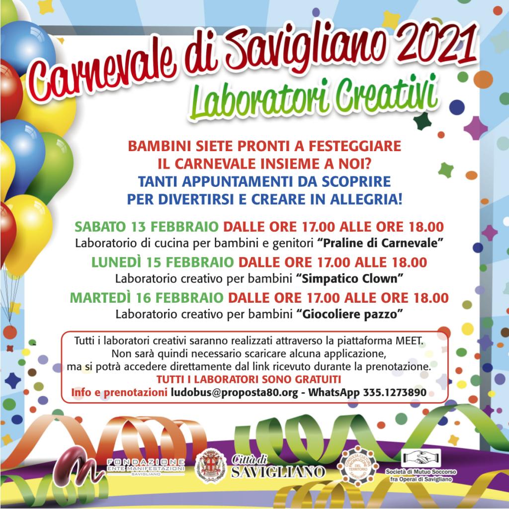 Laboratori online Carnevale 2021